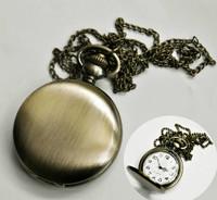 Vintage Polished Brass Round Pendant Unisex Pocket Quartz Watch Necklace