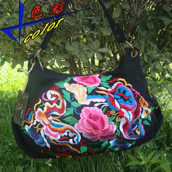 National trend bags one shoulder cross-body women's canvas handbag embroidered embroidery bag vintage elegant bag
