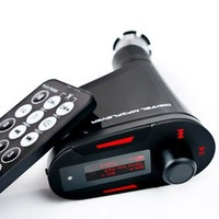 Free Shipping USB Car MP3 SD Card Player with Audio FM Transmitter Remote Control Red LCD