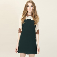 2013 fashion spring women's new women's dress lapel sleeve