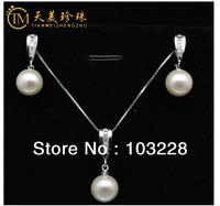 Tanabata Natural freshwater pearl pendant Genuine Sterling Silver Necklace and Earring Sets Free shipping-@9
