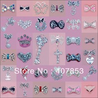 Wholesale Fashion 3D Nail Art Metal Jewelry Hollow Bow Shape with Rhinestones Cellphone Glitters Decoration 100PCS/lot