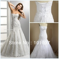 Actual Image Gorgeous White Sweetheart Lace-Up Back Court Train Applique Mermaid Wedding Dresses 2013