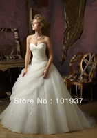 Free Shipping New Arrival Gorgeous Ivory Sweetheart Floor Length Organza Gorgeous Wedding Gowns Ruffle Wedding dresses