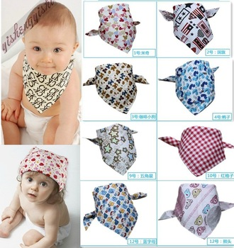 Free Shipping New Hot Sale Wholesale 4pcs Children Baby Kids Saliva Towel Triangle Cotton Bandana Bibs Feeding head Scarf  Wrap