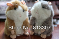 Free Shipping 1 PCS Talking Hamster and moving Hamster talking Plush Toy repeat any language--Gray/light brown Color
