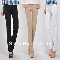 2013  fashion korea style cotton straight leg slim fit office lady's OL  women's full length pants jeans trousers