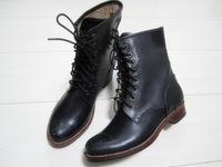 Fashion vintage fashion street handmade cowhide round toe black martin boots flat heel genuine leather boots