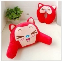 Free shipping Hot sell  Red A raccoon U shaped neck pillow + car A raccoon lumbar pillow 1set 20.88USD