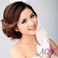 The bride married gloves wedding gloves transparent crystal usuginu short gloves luxury sparkling diamond bow interspersion