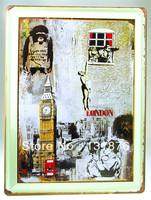 30*40CM UK LONDON BIG BEN CLOCK IRELAND Soldier Poster Wall Decor House Iron Painting Pub Tin Sign