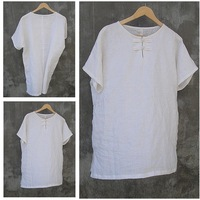 Elegant handmade chinese style men's clothing chinese style linen short-sleeve shirt