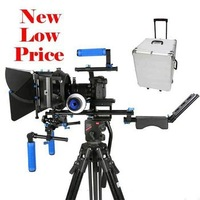 Professional Camera Rig Supports Shoulder Mount Follow Focus Matte Box Lilliput HDMI Kit Rig DSLR w Hard Case