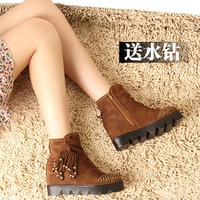 Spring belt rhinestone tassel boots round toe women's elevator shoes invisible platform casual shoes