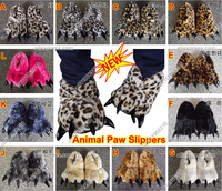 Fashion Warm Adorable Unisex Plush Animal Tiger Bear Dinosaur Paw Claw Slippers Winter indoor Anti-slip Leopard Shoes Woman Man