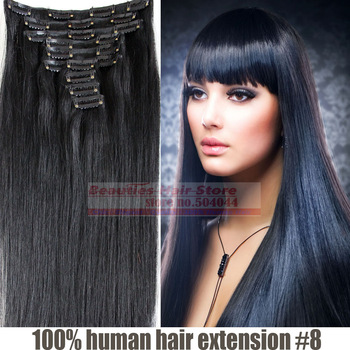 "18""-24'' 10pcs set  180g  100% human hair  clip in/on hair extension #1 jet black"