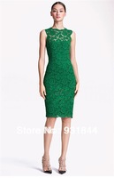 2014 new arrival lace sheath sexy Evening dress hot cheap knee length green black white Slim Special Occasion party prom gown