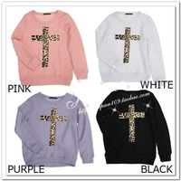 Kawi jamele spring candy color leopard print cross cutout sweater loose sweater