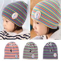 10pcs/lot Hot Selling 2013 Autunm Winter children hat Rainbow stripe knitting cap Baby Caps Infant hats caps Kids Beanie