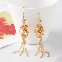 Free shipping Retail  Crystal paillette earrings long design tassel drop earring fashion earring