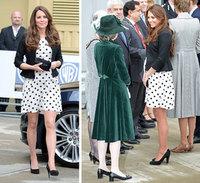 2013 Summer New Princess Kate Middleton Short-sleeves Hepburn Style Black& White Polka Dot Short-sleeve Chiffon Dress Hot!