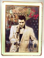 30*40CM LAS VEGAS Card Elvis Aron Presley USA Culture Icons Pub Decor Star Poster  Singer Rock Music Wall Decor Bar Sign