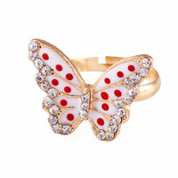 Free shipping Retail Oil small fresh dot butterfly ring the opening adjustable