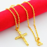 24KGP-AKN113-Fashion jewelry Top Quality 24k Yellow Gold Plated Wholesale Chain 44x1.5cm Free Ship Chain Necklace For Man