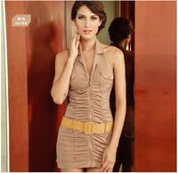 2013 brown zipper small V-neck halter-neck one-piece dress strap 2569