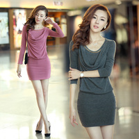 2013 autumn plus size slim hip slim gentlewomen basic long-sleeve dress basic skirt winter fashion women XXL XXXL free shipping
