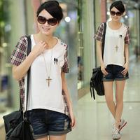 Plus size clothing female t-shirt lovers short-sleeve summer basic shirt female white t-shirt female loose short-sleeve