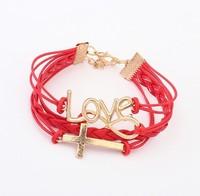 Min. order is $15(mix order)Fashion jewelry,Factory price,Romantic Korean password Love Cross Bracelet