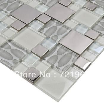 Glass mosaic tile backsplash SSMT109 silver metal mosaic stainless steel mosaic tiles sheet stainless steel mosaic glass tiles
