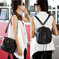 PUNK 2014 FashionRivet Skull Backpacks Tassel Ladies Small Backpack PU Leather multifunction School Bags Student Mochilas