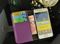 Free shipping wallet case for samsung galaxy s2 i9100 with card holder leather case for i9100 mutil wallet pouch