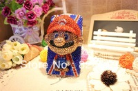 Free shipping DIY stereo cartoon Handmade diamond Crystal Cover Super Mario doll case for iphone4/4S/5 smart housing10pieces/lot