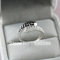Italina European  American style  female retro index finger ring pattern  Crystal  18K whitegold plated high-end jewelry