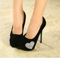 2013 autumn shoes, single shoes luxury rhinestone heart shallow mouth platform high-heeled shoes banquet ,women's shoes