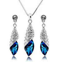 Free Shipping Fashion Crystal Tear Drop Necklace Earrings Jewelry Set Fashion Earrings