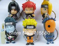 Japan Anime Naruto PVC Figure  KeyChain  6 Pcs /Cool
