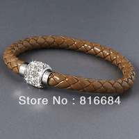 FREE SHIPPING !!! (10pcs/lot) Unisex Braided Leather Stainless Steel Magnetic Clasp Bracelets