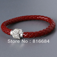 FREE SHIPPING !!! (10pcs/lot) Austrian Clear Crystal Wine red Leather Braided Cord Bracelet Magnetic Silver Tone