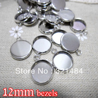 Rhodium plated 500piece 12mm bezels round hung charm earring dangle pendant tray jewelry blanks cameo base cabochon setting