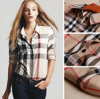 Free Shipping 2013 HOT SALE Women Summer Fashion Long Sleeve Woven Geometric Blouse Casual Women Shirt Tops 9646