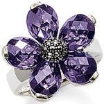 Free shipping Diamond five petal flower ring - ts charm ts fashion pure silver pendant