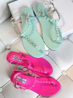 Hot-selling 2013 beach summer candy color T flip-flop buckle rivet flat-bottomed female sandals