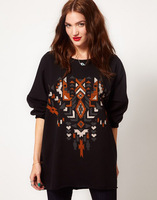 2013 Autumn new fashion women Sweatshirts long sleeve geometric design ladies sweater fall clothes Y0302