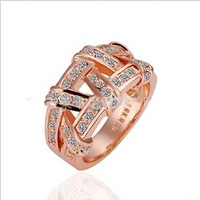 New Arrivel Fashion Hot Selling 18K Rose Gold Plated Rings,Amazing Quality Diamond Rings,Size 6/7/8
