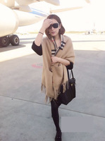 Free Shipping 2013 Women Fashion Brand Name Cashmere Plaid Pashmina/Designer Big Check Shawls/Scarf  #16010 Free Shipping