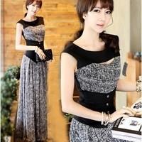 New 2014 spring and summer slim waist faux two piece elegant OL outfit slim one-piece chiffon dress full dress female tank dress